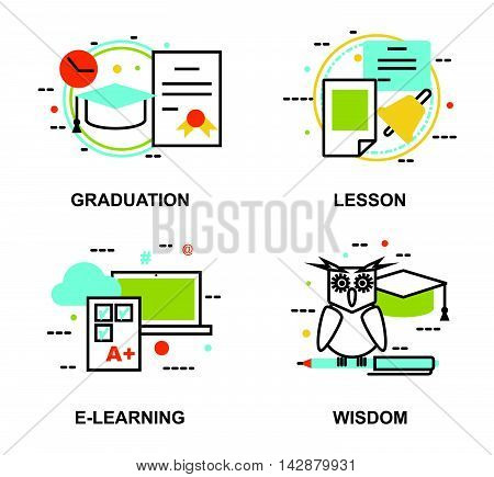 Modern flat thin line design vector illustration set of education concepts gradution school lesson e-learning process and wisdom abstract for graphic and web design