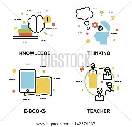 Modern flat thin line design vector illustration set of education concepts knowledge thinking process e-book and teachers for graphic and web design