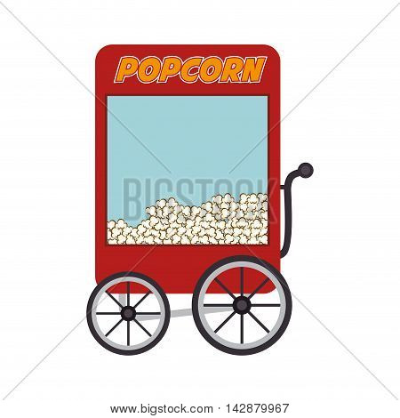 pop corn cart fair circus food park snack vector  isolated illustration