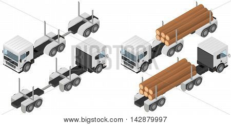 Logging truck in isometric. A bunch of logs in the body of the white vehicle. The industry of construction. Deforestation. Forest cutting. Cargo transport. Vector illustration.