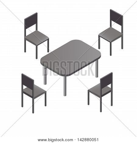 Four black chairs oval table. Flat isometric. Wood products. The items of kitchen interior. Furniture for home cafe and restaurant. Isolated on white background. Vector illustration.