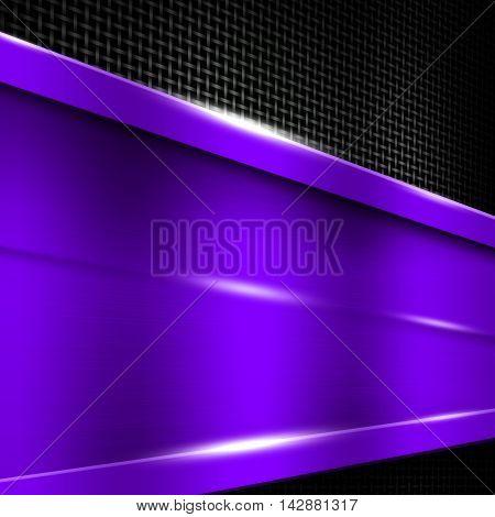 purple metal frame on black metallic mesh. metal background. 3d illustration.