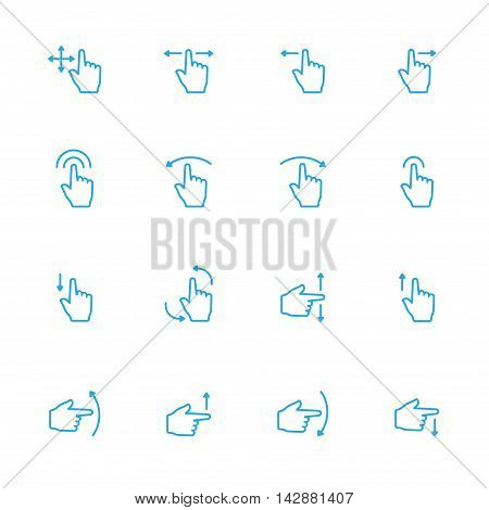 Touch Gesture Blue Line Icon and Sensory Blue Line Icons