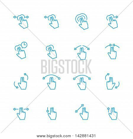 Touch Gesture Blue Line Icon and Sensory Blue Line Icons Set
