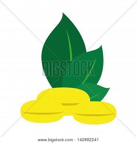 capsule gold medicine vitamin natural eco health leaf plant vector  isolated illustration