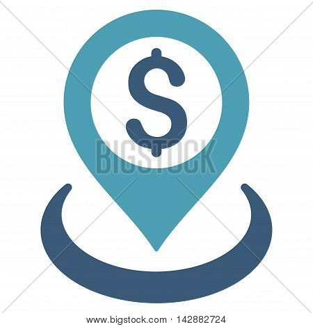 Dollar Placement icon. Vector style is bicolor flat iconic symbol with rounded angles, cyan and blue colors, white background.