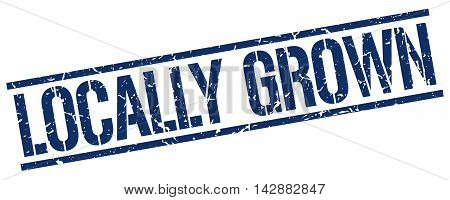 locally grown stamp. blue grunge square isolated sign