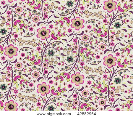Seamless floral pattern with ornamental flowers in Khokhloma style. Floral design. Traditional russian Hohloma ornament with flowers. Fresh light vintage pinkish colors. Vector illustration