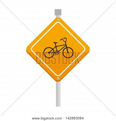 yellow bike bicycle sign safety attention warning vector  isolated and flat illustration