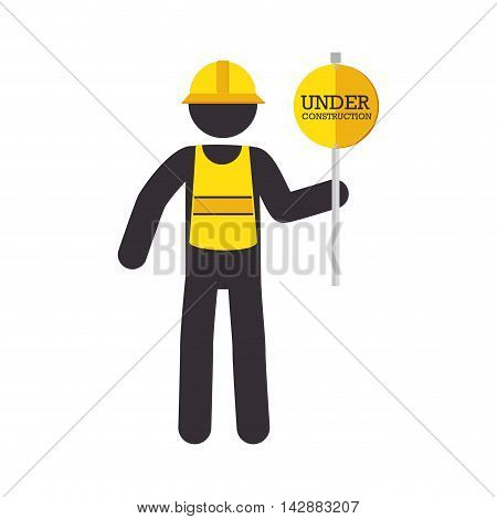 man sign yellow reflection helmet precaution warning worker under construction vector  isolated and flat illustration