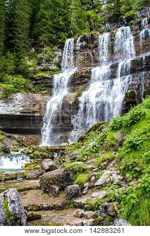 The Vallesinella waterfall in the