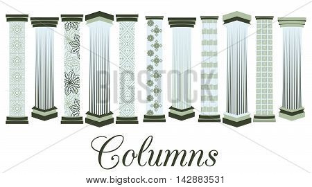 Columns with a pattern. set. Doric Roman style. Vector illustration.