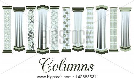 Columns with a pattern. set. Doric Roman style. Vector illustration.