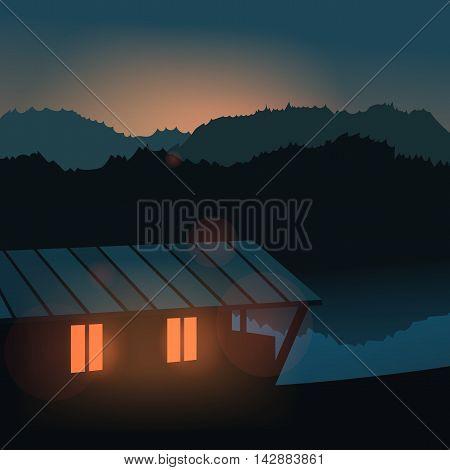 Evening landscape on the river. Travel, home. Vector illustration. Lake house