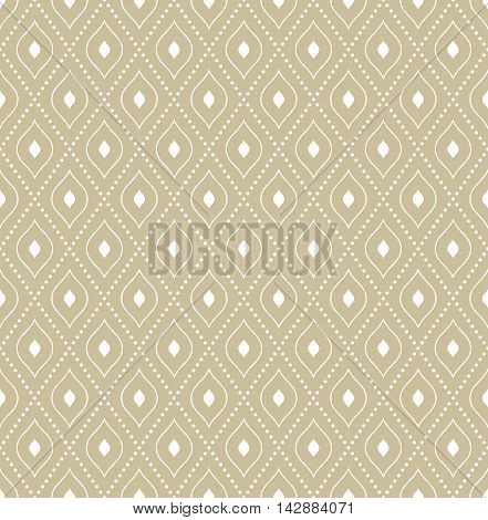 Seamless vector ornament. Modern geometric pattern with repeating elements. Golden and white pattern