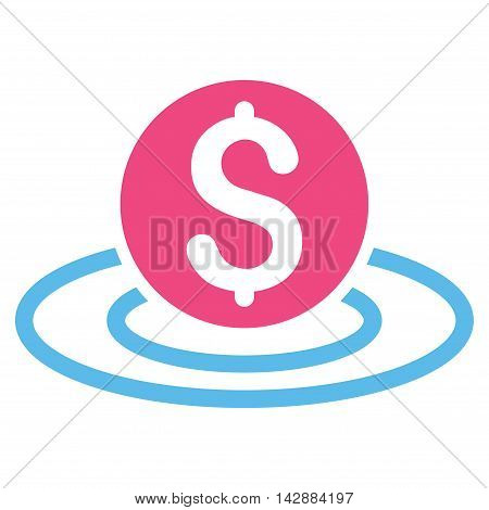 Dollar Coin Area icon. Vector style is bicolor flat iconic symbol with rounded angles, pink and blue colors, white background.