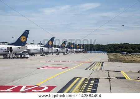 Row Of  Lufthansa Flight With Position At The Apron