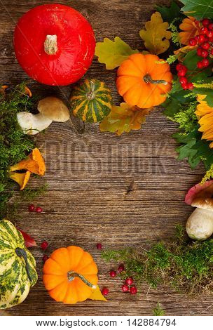 Flat lay frame with mushrooms, moss, leaves and pumkins frame on wooden table