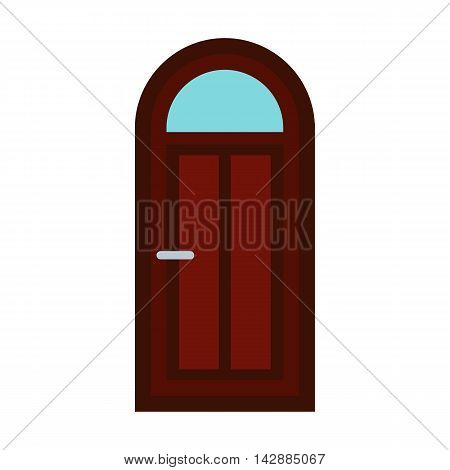 Arched wooden door icon in flat style isolated on white background