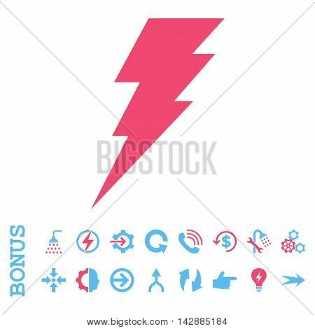 Execute vector bicolor icon. Image style is a flat iconic symbol, pink and blue colors, white background.