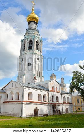 Bell tower of Sophia Cathedral - Orthodox church now a museum in Vologda Russia. Erected in 1568 - 1570 years on the orders of Ivan the Terrible