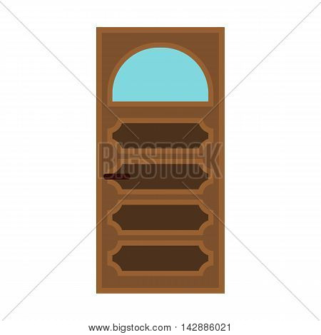 Interior door with glass icon in flat style isolated on white background