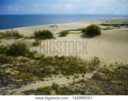 panoramic colorful view of sand dune and sea