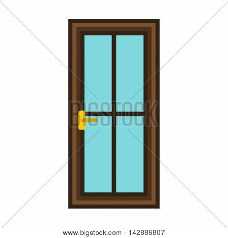 Classic interior or front wooden door icon in flat style isolated on white background
