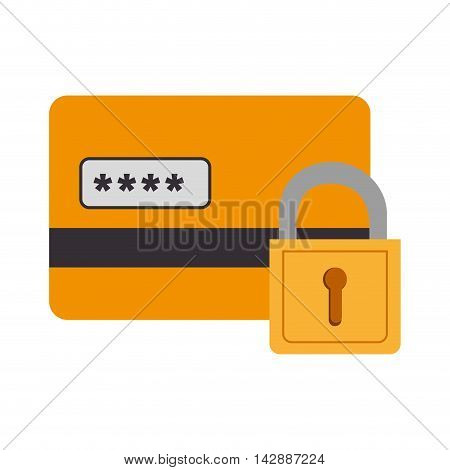 card block lock pin security  credit money pay chip transaction plastic  money vector  isolated and flat illustration