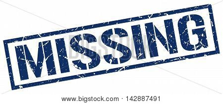 missing stamp. blue grunge square isolated sign