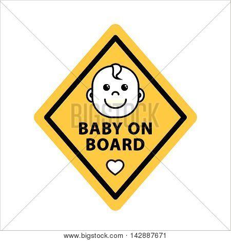 Baby on board sign on yellow rhombus flat vector illustration