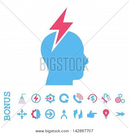 Headache vector bicolor icon. Image style is a flat pictogram symbol, pink and blue colors, white background.