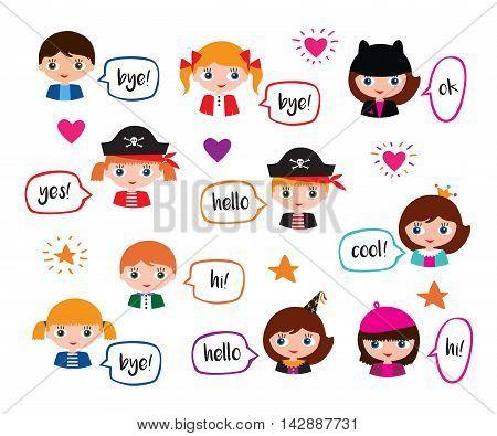 Set of schoolgirls and schoolboys with speech bubbles. Vector.