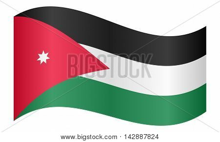 Flag of Jordan waving on white background. Jordan national flag.