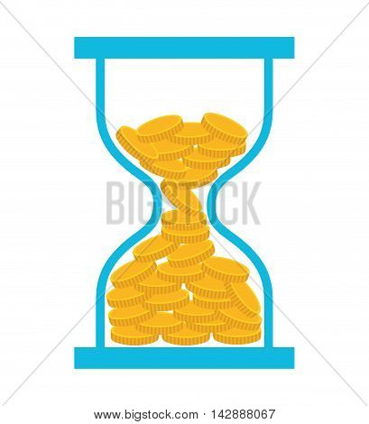 coin dollar hourglass money icon vector isolated design
