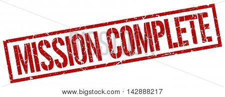 mission complete stamp. red grunge square isolated sign