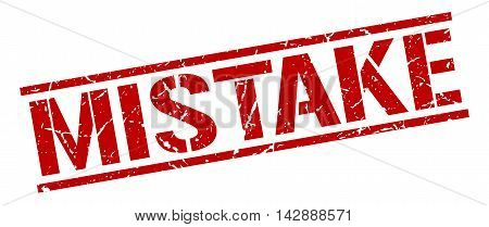mistake stamp. red grunge square isolated sign