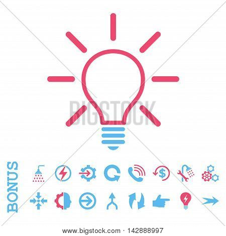 Light Bulb vector bicolor icon. Image style is a flat iconic symbol, pink and blue colors, white background.