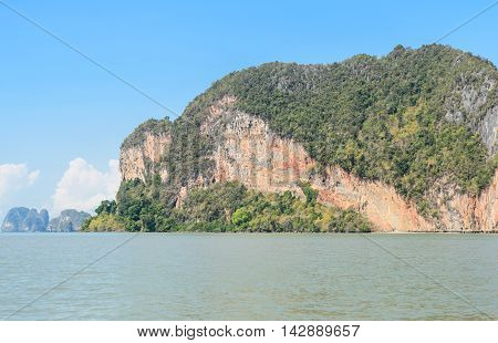 Landscapes of limestone island in Phang Nga Bay National Park Thailand. Imagine as Wild boar and tiger image on cliff