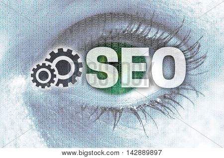 Seo eye looks at viewer concept background.