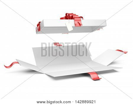 Opened gift box blank with red ribbon and bow. Isolated on a white background 3D illustration