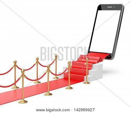 3D Illustration of a Staircase covered with red carpet with barrier rope and modern smartphone on top