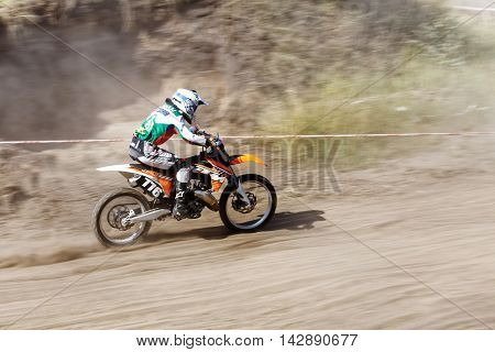 Ulyanovsk Russia - August 13 2016. Enduro biker - participant of the motocross championship of the Volga Federal District
