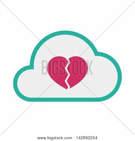 Isolated Line Art   Cloud Icon With A Broken Heart