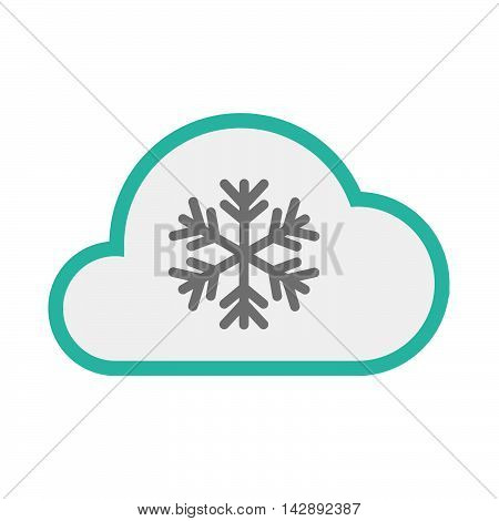 Isolated Line Art   Cloud Icon With A Snow Flake
