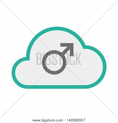Isolated Line Art   Cloud Icon With A Male Sign