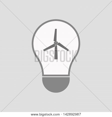 Isolated Line Art Light Bulb Icon With A Wind Turbine