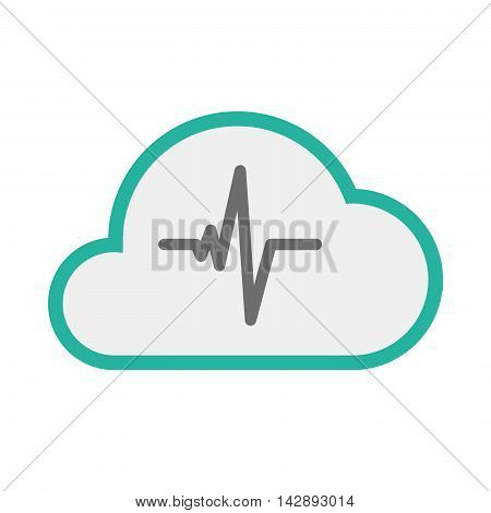 Isolated Line Art   Cloud Icon With A Heart Beat Sign