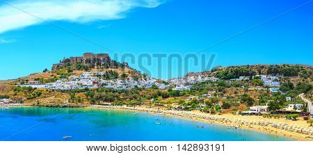 scenic Rhodes island, Lindos bay. Greece sunny day
