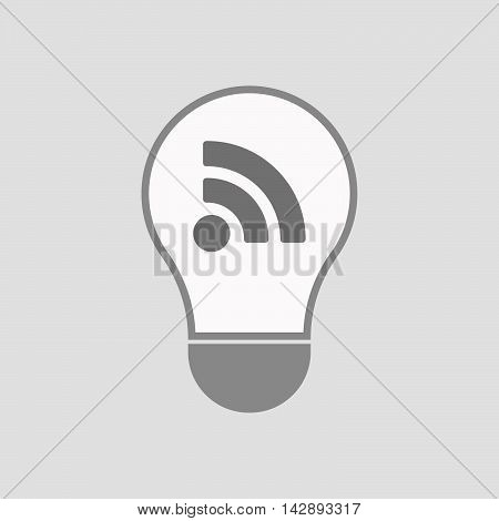 Isolated Line Art Light Bulb Icon With An Rss Sign